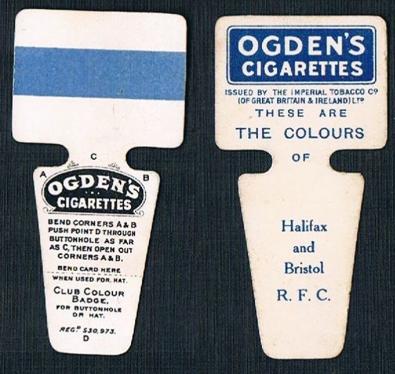1909 Ogden Club Colour Badge cigarette card Halifax Bristol RFC